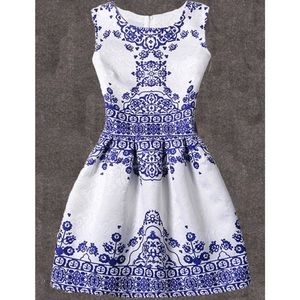 Fit & Flare Vintage Print Floral Embossed Dress